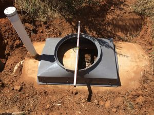 Ensure the septic tank access saddle is level