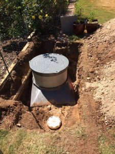 Septic tank access Saddle in position in excavation