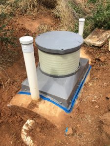 Septic tank access Saddle sealed in position end view